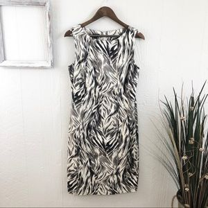 Talbots Abstract Feather Print Shift Dress